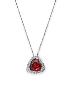 """Bloomingdale's - Garnet and Diamond Heart Pendant Necklace in 14K White Gold, 16""""- 100% Exclusive"""
