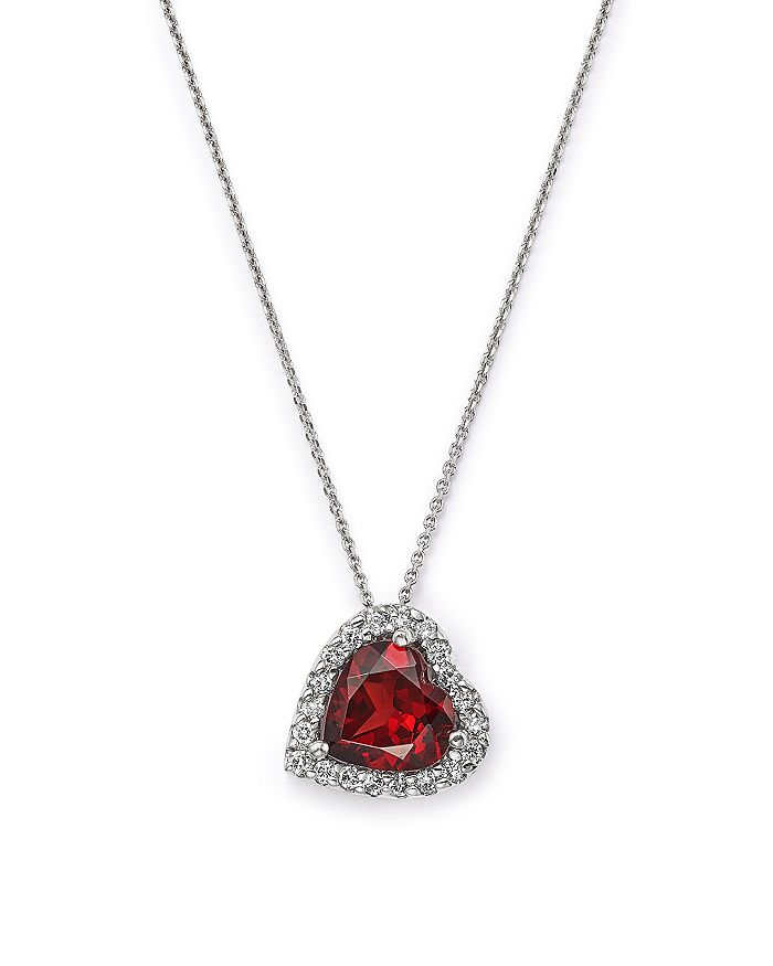"Bloomingdale's - Garnet and Diamond Heart Pendant Necklace in 14K White Gold, 16"" - 100% Exclusive"