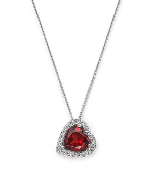 Garnet and Diamond Heart Pendant Necklace in 14K White Gold, 16 - 100% Exclusive