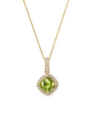 Peridot Cushion Cut and Diamond Pendant Necklace in 14K Yellow Gold, 16 - 100% Exclusive