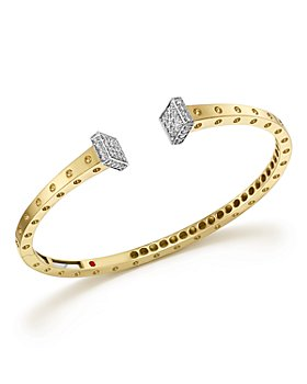 Roberto Coin - 18K White and Yellow Gold Pois Moi Chiodo Bangle with Diamonds - 100% Exclusive