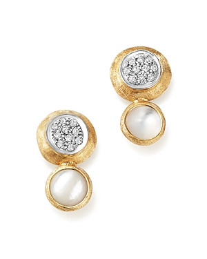 Marco Bicego 18K White and Yellow Gold Jaipur Climber Stud Earrings with Mother-Of-Pearl and Diamonds