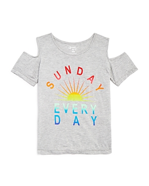 Flowers by Zoe Girls' Sunday Every Day Cold Shoulder Tee - Sizes S-xl