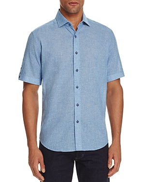 Robert Graham Modern Americana Micro Grid Linen Blend Slim Fit Button-Down Shirt