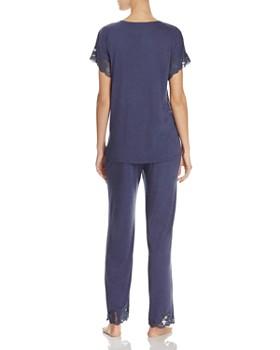 Natori - Zen Floral Lace-Trim Short Sleeve Pajama Set