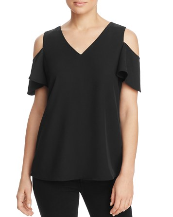 $Calvin Klein Cold Shoulder Bell Sleeve Top - Bloomingdale's
