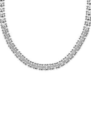 Lagos Sterling Silver Caviar Spark Diamond Collar Necklace, 18