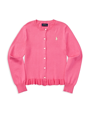 Ralph Lauren Childrenswear Girls' Ruffled Pima Cotton Cardigan - Big Kid