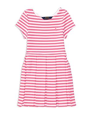 Ralph Lauren Childrenswear Girls' Striped Pleated Ponte Knit Dress - Little Kid