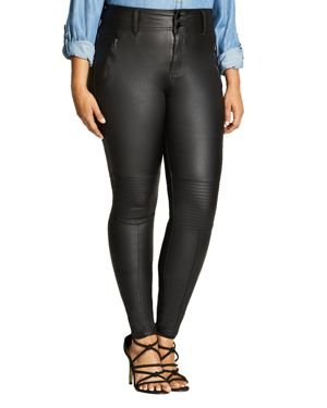 City Chic Coated Denim Skinny Jeans