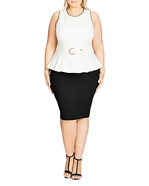 New City Chic Belt-Detail Peplum Dress, Ivory