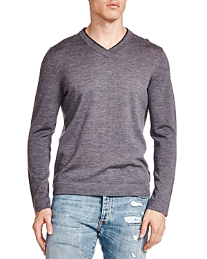 The Kooples Leather Trim Merino Wool V-Neck Sweater