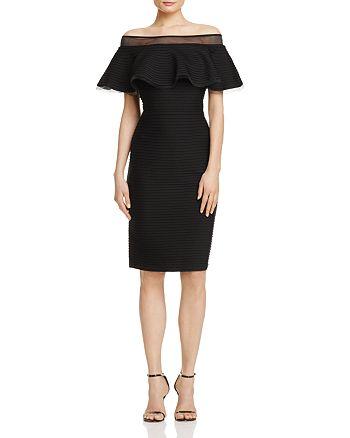 Tadashi Shoji - Pintucked Off-the-Shoulder Dress