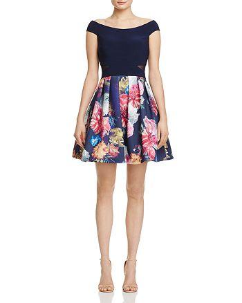 AQUA - Off-the-Shoulder Illusion-Inset Dress - 100% Exclusive