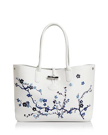 Longchamp Roseau Sakura Leather Shoulder Tote   Bloomingdale s 562ef386d3