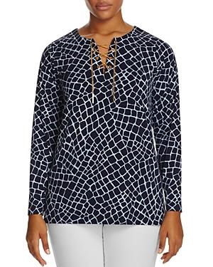 Michael Michael Kors Plus Nyla Croch Print Lace-Up Chain Tunic