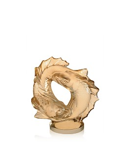 Lalique - Double Medium Gold Luster Fish Sculpture