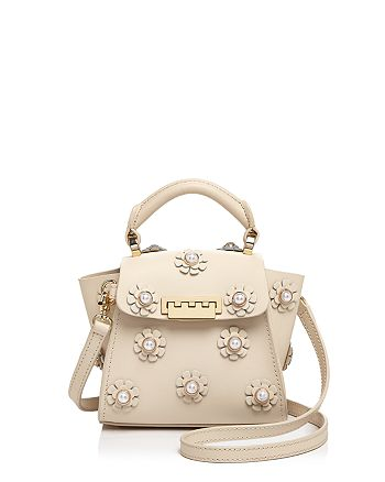 ZAC Zac Posen - Eartha Iconic Faux-Pearl Floral Appliqué Top Handle Mini Leather Crossbody