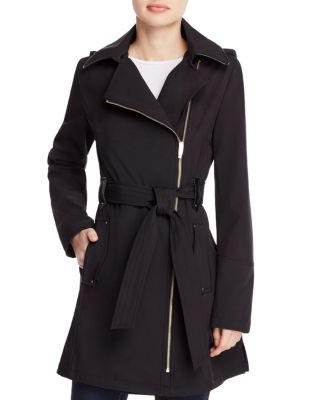 PETITE ASYMMETRICAL FAUX-LEATHER-TRIM TRENCH COAT