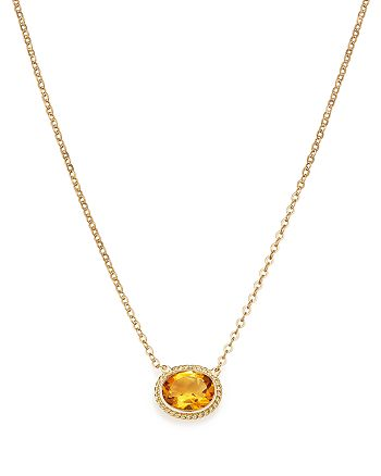 "Bloomingdale's - Citrine Bezel Pendant Necklace in 14K Yellow Gold, 18"" - 100% Exclusive"