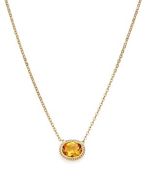 Citrine Bezel Pendant Necklace in 14K Yellow Gold