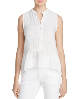 Birds of Paradis Sleeveless Peplum Shirt