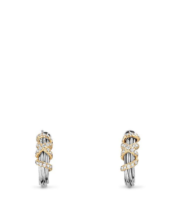 David Yurman - Helena Small Hoop Earrings with Diamonds and 18K Gold