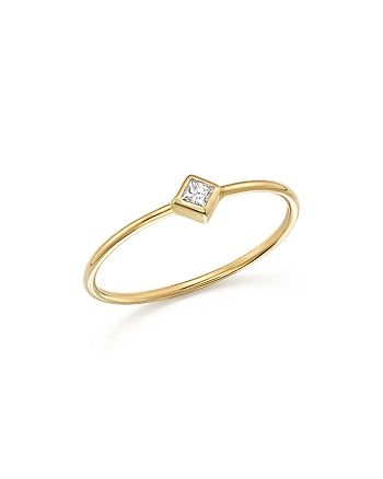 Zoë Chicco - 14K Yellow Gold Bezel Ring with Diamonds