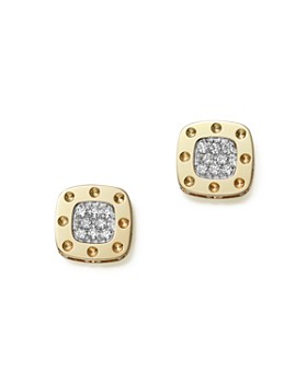 618db2a721a Roberto Coin - 18K Yellow and White Gold Square Pois Moi Earrings with  Diamonds