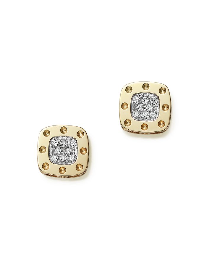 Roberto Coin - 18K Yellow and White Gold Square Pois Moi Earrings with Diamonds, 0.24 ct. t.w.