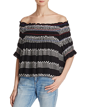 Piper Ramones Embroidered Off-the-Shoulder Top
