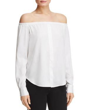 Dkny Off-the-Shoulder Silk Blouse