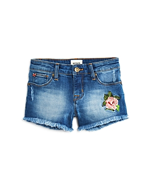 Hudson Girls' Rose Embroidered Frayed Denim Shorts - Little Kid, Big Kid