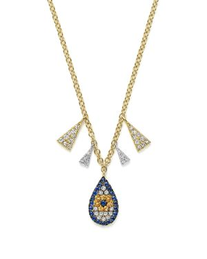 Meira T 14K White and Yellow Gold Sapphire and Diamond Evil Eye Teardrop Pendant Necklace, 18