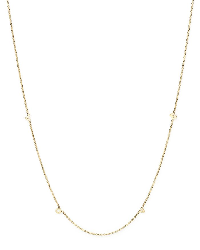 Zoë Chicco 14k Yellow Gold Itty Bitty Love Letters Necklace, 16