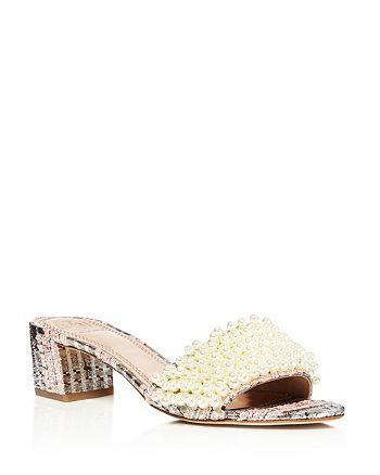4182f2f8f062 Tory Burch - Tatiana Embellished Tweed Slide Sandals