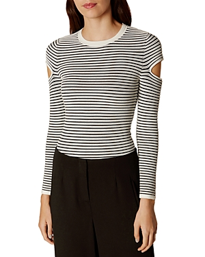 Karen Millen Slash-Sleeve Striped Sweater