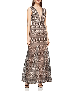 Bcbgmaxazria Deep V-Neck Lace Gown
