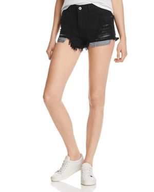 PISTOLA NOVA DISTRESSED DENIM CUTOFF SHORTS IN ONYX
