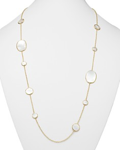 IPPOLITA - Ippolita 18K Yellow Gold Polished Rock Candy Circle Oval Station Necklace in Mother-Of-Pearl, 37""