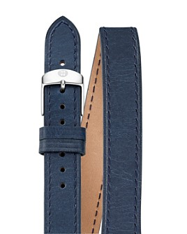 MICHELE - Double Wrap Leather Watch Strap, 16-18mm