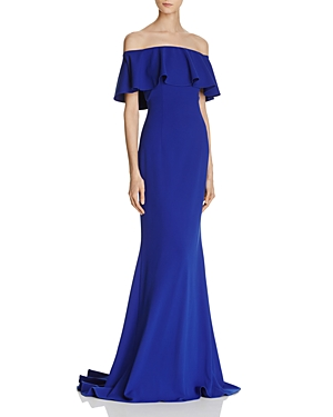 Adrianna Papell Ruffle Off-the-Shoulder Gown