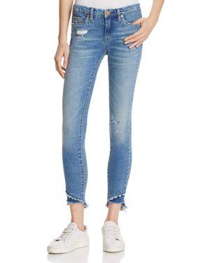 Blanknyc Staggered Step Hem Distressed Skinny Ankle Jeans in App Happy