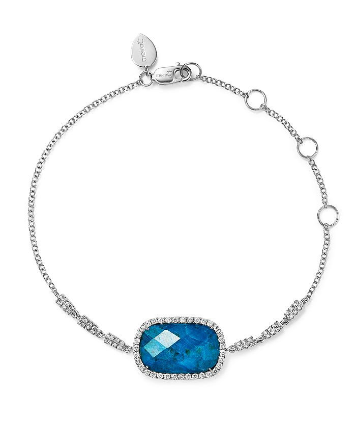Meira T - 14K White Gold Chrysocolla Doublet and Diamond Bracelet