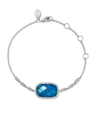 Meira T 14K White Gold Chrysocolla Doublet and Diamond Bracelet