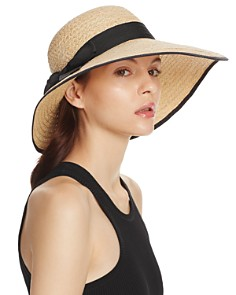 AQUA Raffia Straw Sun Hat with Bow Trim - 100% Exclusive - Bloomingdale's_0