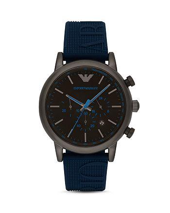 Emporio Armani - Chronograph Blue Silicone Watch, 46 mm