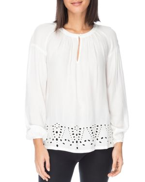 B Collection by Bobeau Lucie Eyelet Trim Blouse
