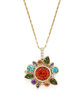 "Bloomingdale's - Multi Gemstone Pendant Necklace with Diamonds in 14K Yellow Gold, 18"" - 100% Exclusive"