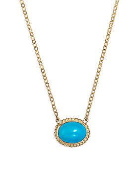 "Bloomingdale's - Turquoise Oval Bezel Pendant Necklace in 14K Yellow Gold, 17"" - 100% Exclusive"
